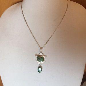 Jewelry - Green jasper sterling silver pendant